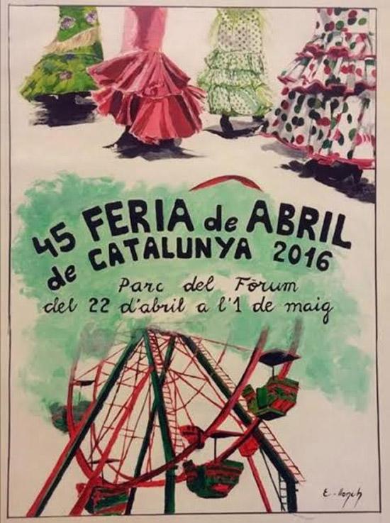 Cartel de la 45 Feria deAbril de Catalunya obra de la artista Elisenda Llonch que se celebrara del 22 de abril al 1 de mayo en el Parc del Forum de Barcelona